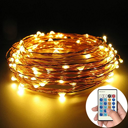 LED SopoTek Starry Lights 20Ft 6m 120LED Warm White Dimmable String Light. Lights Twinkle or ...