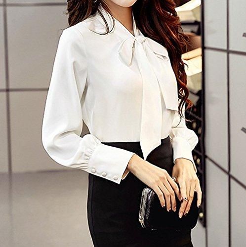 et Printemps Longues Unie avec Fashion Couleur Fashion Blouse Femme Jeune ud Papillon Automne Mousseline de Chemises Manches Blanc Shirt Tee Casual N Tops Chemisiers Simple Haut Bureau EqcfRW5Ew