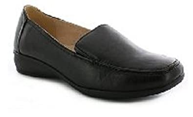Womens Ladies Flat Wedge Leather Lining Wide Fit Comfort Soft Work Shoes Size IC_1072