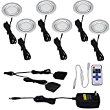 Aiboo Under Cabinet Recessed Spotlights Kit 6 Packs of 12V LED Puck Lights 56mm Cut out with Wireless Dimmable Remote Controller for Household Furniture Lighting (Warm white)