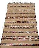 Moroccan Handmade Area Rug Wool Kilim Berber Carpet Beige