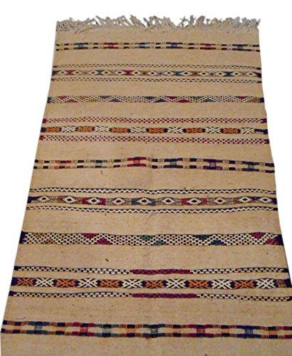 Moroccan Handmade Area Rug Wool Kilim Berber Carpet Beige by Rug