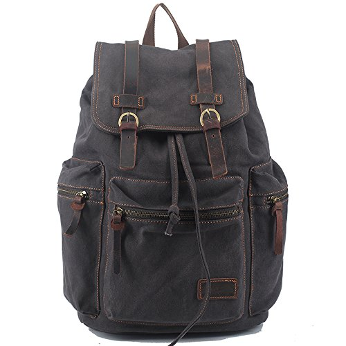 Mefly Vintage Retro lienzo mochila de viaje bolsos de cuero casual para Hombres y Mujeres Bookbag para adolescentes niñas y niños marrón Dark Grey
