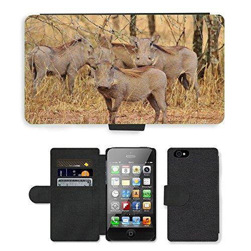 Just Phone Cases PU Leather Flip Custodia Protettiva Case Cover per // M00128440 Warthogs Tanzanie Afrique du Warthog // Apple iPhone 4 4S 4G