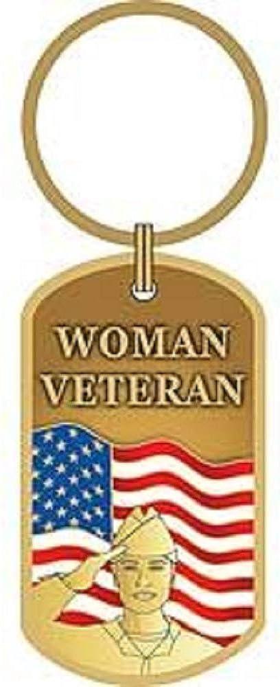 Woman Veteran USA Flag Original Artwork Premium Quality Key Ring 1.75