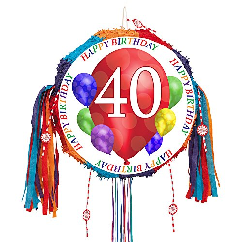 40TH BIRTHDAY BALLOON BLAST PULL PINATA (EACH) by Partypro -