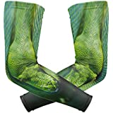Green Snake Coiled Up Camouflage Arm Sleeve Youth Adult Compression Elbow UV Skin Protection Sun Protection Sleeve for Cycling Basketball Baseball Driving