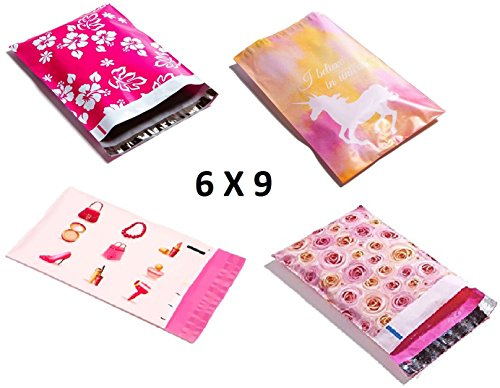 6X9 Designer Poly Mailers Assorted : Pink Aloha, Pink Unicorn, Makeup, Pink Roses; Printed Self Sealing Shipping Poly Envelopes Bag 9X6 (40 Variety Mix Pack)