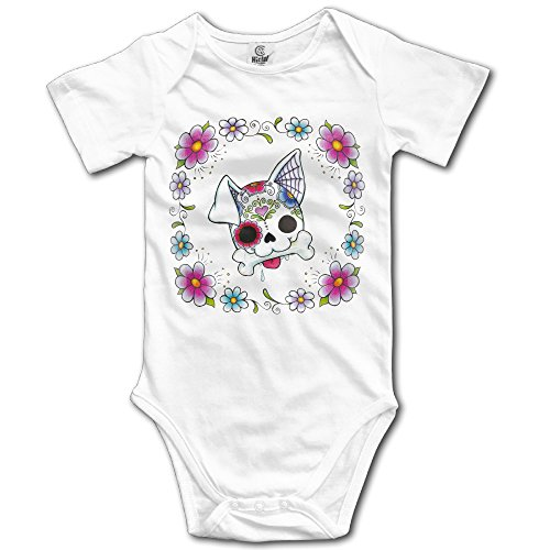 SUGAR SKULL CUTE DOG PUPPY Babies' Unisex Baby Onesie Limited Edition Print Short Sleeve One-piece Bodysuit ()