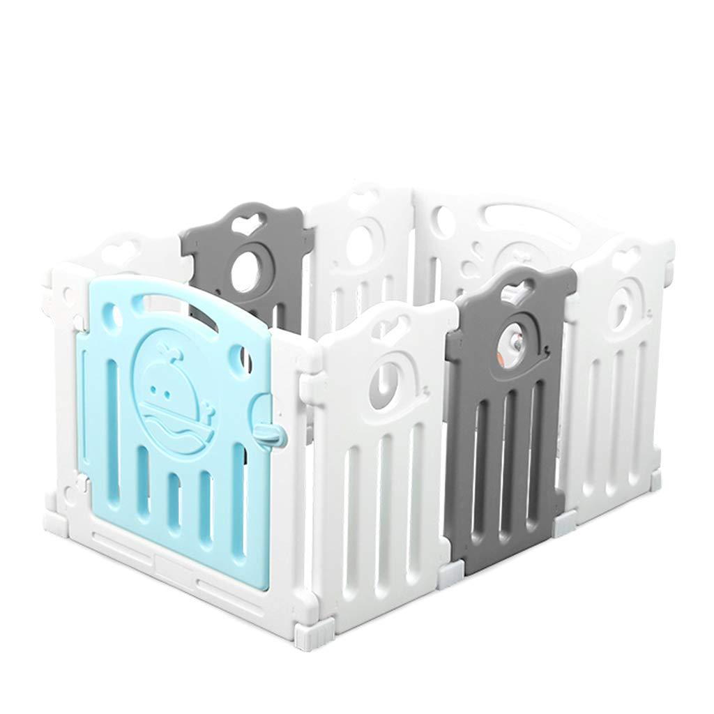 ベビーサークル Baby Playpen - 8パネルプラスチックキッズアクティビティセンターホームフットルーズ屋内アンチスキッドフェンス付きドア、グレー/ホワイト、113×76.5×61cm   B07MQZ3B4C