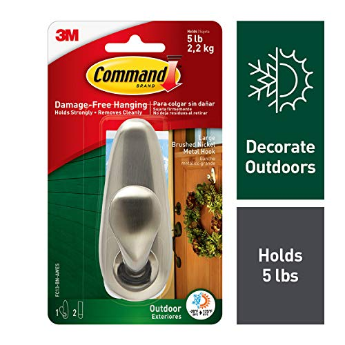 Command Outdoor Metal Hook, 1 hook, 2 strips, Water-Resistant Strips (FC13-BN-AWES) (Range Garland Outdoor)