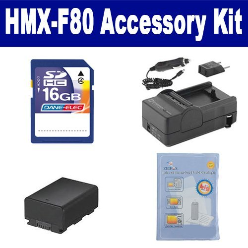 Samsung HMX-F80 Camcorder Accessory Kit includes: ZELCKSG Care & Cleaning, SDIABP210E Battery, SDM-1524 Charger, SD4/16GB Memory Card by Synergy Digital