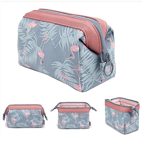 Makeup Bag Light Blue Flamingo Brush Organizer ()