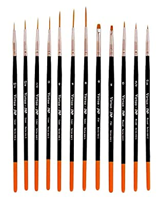 Virtuo - Pro Series 902L Detail Paint Brushes for Oil, Acrylic and Watercolors, Long Handles (12) from ProArtistSupply