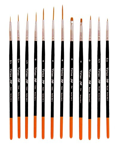 Virtuo - Pro Series 902L Detail Paint Brushes for Oil, Acrylic and Watercolors, Long Handles (12) (Golden Taklon Detail Brushes compare prices)
