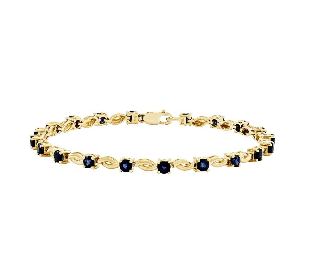 Silvostyles 3.20 Ct Prong-Set Round Sapphire Scroll Tennis Bracelet, 14K Yellow Gold Plated by Silvostyles