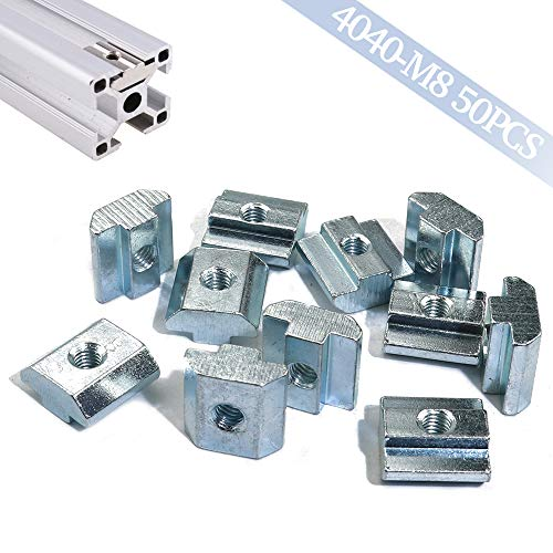 Boeray 50pcs 4040 Sereis Aluminum Extrusion Profile M8 Slide in T Nut, Drop in Nut, Roll-in T-nut for Slot 8mm