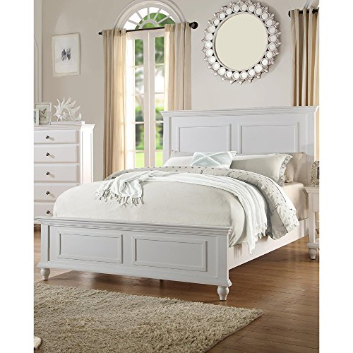 Benjara BM168424 Benzara Captivating Queen, White Wooden Bed,