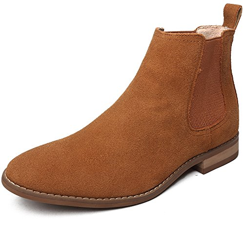 OUOUVALLEY Classic Slip-on Original Suede Chelsea Boots 7 N(A) US, Tan by OUOUVALLEY