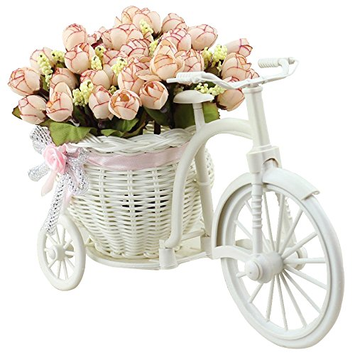 Pansy Flower Pictures (JAROWN Artificial Flowers with Vase Basket Silk Rose Bicycle Stand Fake Bouquets for Home Office Decoration(White pink))