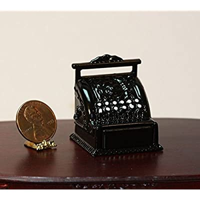 "Dollhouse Miniature ""Vintage Look"" Black Cash Register: Toys & Games"