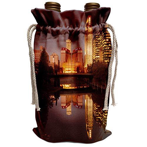 3dRose Danita Delimont - Walter Bibikow - Nebraska - USA, Nebraska, Omaha, Gene Leahy Mall, skyline at dawn - Wine Bag ()