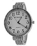 Women's Vintage Style Easy Read Bangle cuff Watch-Silver Tone