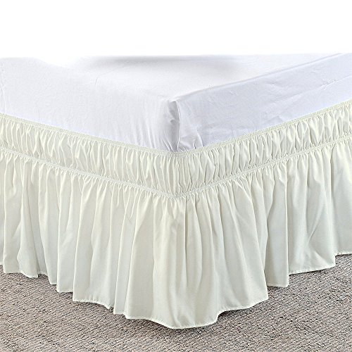 (Cotton Castles Three Sides Fabric Wrap Around Elastic Solid Bed Skirt, Easy On/Easy Off 100% Microfiber Dust Ruffled Bed Skirts- Bed Wrap with 14 Inch Tailored Drop (Short Queen/Queen, Ivory))