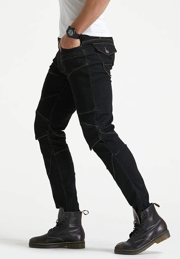 GELing Pantaloni Moto Uomo Jeans Kevlar Aramid Con larmatura,Blu,2XL