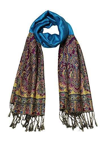 Jacquard Scarf Women's Fashion Shawl Soft Accent Wrap, Turquoise w/ Accent Ends (Bandless Warmers Ear)