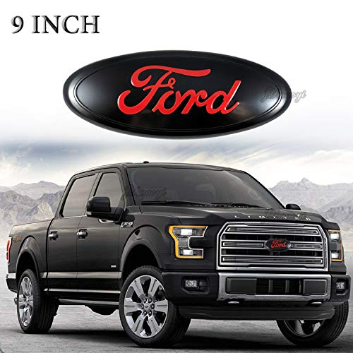 JYMAOYI Ford Emblem Front Grille Emblems 9″ X 3.5″ Tailgate Badge Replacement Oval Medallion Name Plate for F-150 2004-2014, F-250/ F-350 2005-2007,Edge 2011-2014,Explorer 2011-2016,Expedition,Ranger