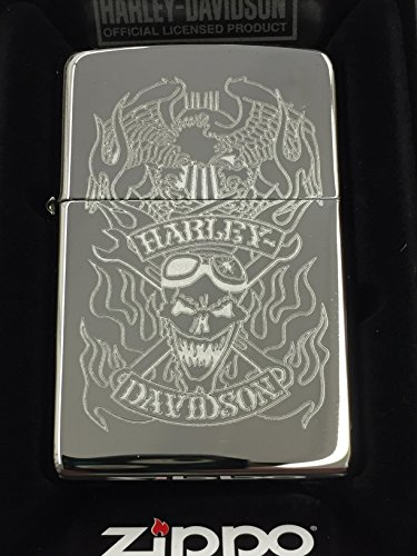Zippo Harley-Davidson Skull & Eagle High Polish Chrome Pocket Lighter ()
