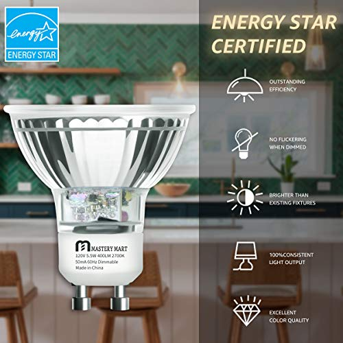 LED GU10 Spotlight Light Bulbs, 50 Watt Equivalent, 5.5W Dimmable, MR16 Full Glass Cover, 2700K Soft White, 25000 Hours, UL Listed, Energy Star Certified, by Mastery Mart (Pack of 6)