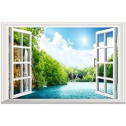 Sameno Removable Wall Sticker/Wall Mural -Scenery Outside Home Sticker Creative Window View Decor (C)