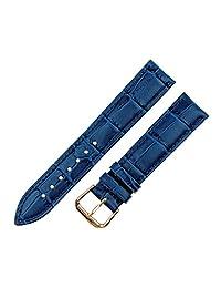 RECHERE Alligator Crocodile Grain Leather Watch Band Strap Rose Gold Pin Buckle (Blue 20mm)