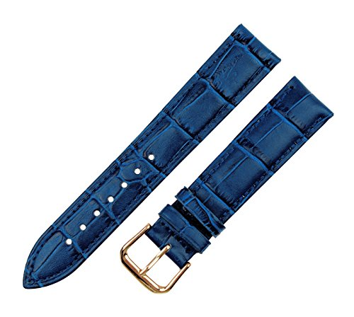RECHERE Alligator Crocodile Grain Leather Watch Band Strap Rose Gold Pin Buckle (Blue 16mm)