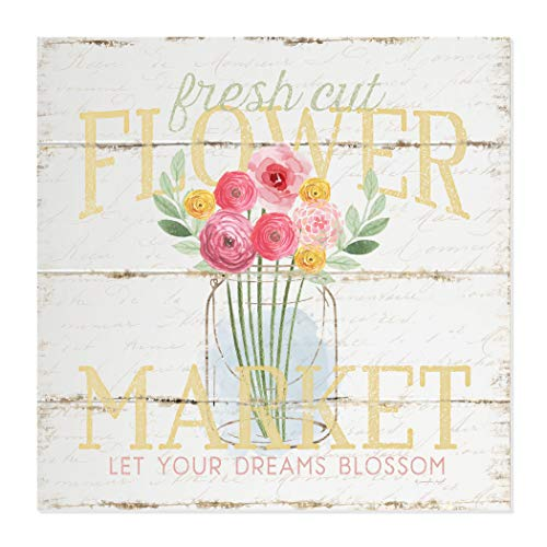 MRC Wood Products Fresh Cut Flower Market Wall Sign 12x12 ()