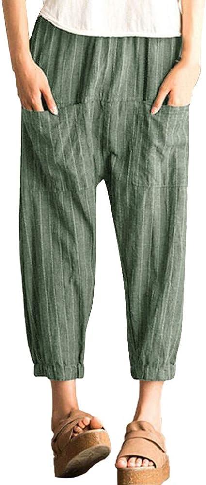 Pantalones de harén a rayas para mujer, SIN+MON ...