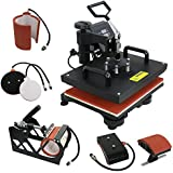 F2C Pro 5 in 1 Swing-away Digital Transfer Sublimation Heat Press Machine Hat/Mug/Plate/Cap/T-shirt Multifunction New Black(5 in 1)