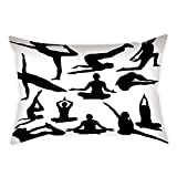 Cotton Linen Throw Pillow Cushion Cover,Meditation,Yoga Postures Woman Body Relaxation Chakra Mystic Hobby Theme Hippie Print,Black White,Decorative Square Accent Pillow Case