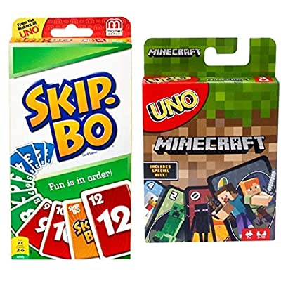 Mattel Games SKIP-BO Card Game AND UNO Minecraft Card Game: Toys & Games