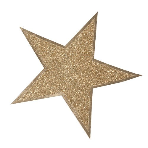 12 Inches Glitter Star Cutouts Gold Package of 12