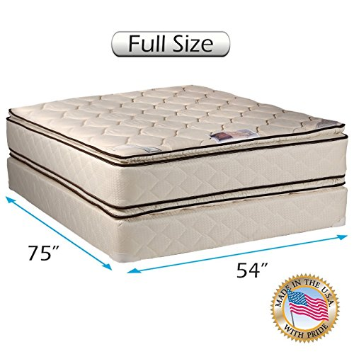 Dream Sleep Coil Comfort 2-Sided Pillow Top Full Mattress Set with Bed Frame Included - Sleep System with Enhanced Cushion Support, Orthopedic, Longlasting Comfort