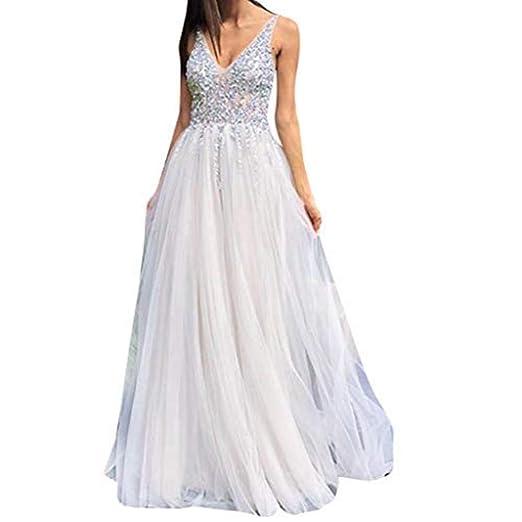 45ffc628633 Mr.Macy Women Sleeveless V Neck Wedding Elegant Party Evening Slim Maxi  Dresses White