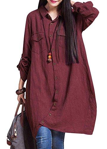 Romacci Women Button Down Long Blouse Casual Cotton Linen Plus Size Top Shirt Dress (S, Burgundy) Cotton Long Top Dress