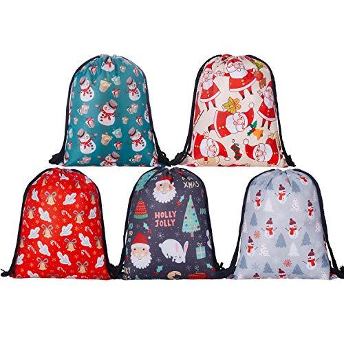 KPCB Christmas Gift Bags Large Drawstring Backpack Santa's Sack 5 Pack, 41cm*32cm ()