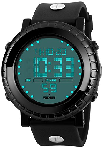 Fanmis Men's Digital LED Sports Watch Multifunctional Military Quartz Waterproof Casual LED Back Light with Simple Large Numbers 164ft 50M Water Resistant Calendar Day and Date Alarm Stopwatch (What Is A Calendar Day)