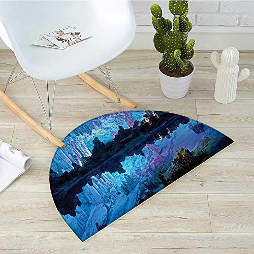 Natural Cave Half Round Door mats Illuminated Reed Flute Cistern with Artifical Lights Crystal Palace Myst Cave Image Bathroom Mat H 43.3