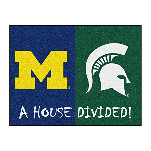 NCAA House Divided - Michigan/Michigan State House Divided Non-Skid Mat Rectangular Area Rug