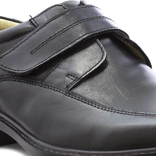EasyFlex Mens Black Leather Touch Fasten Shoe Black 8WCheOay